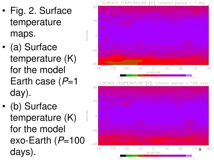 Fig. 2. Surface temperature maps.