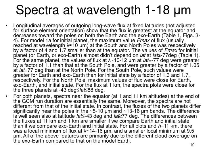 Spectra at wavelength 1-18 μm