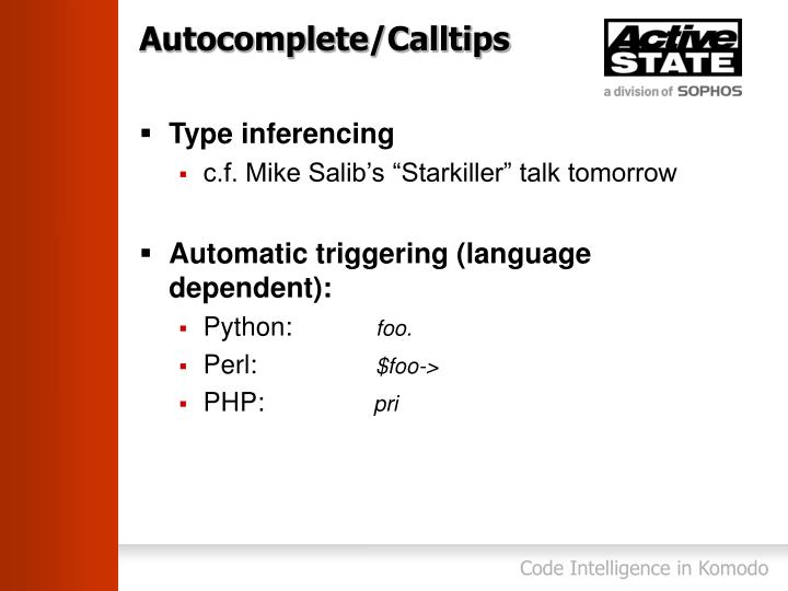 Autocomplete/Calltips