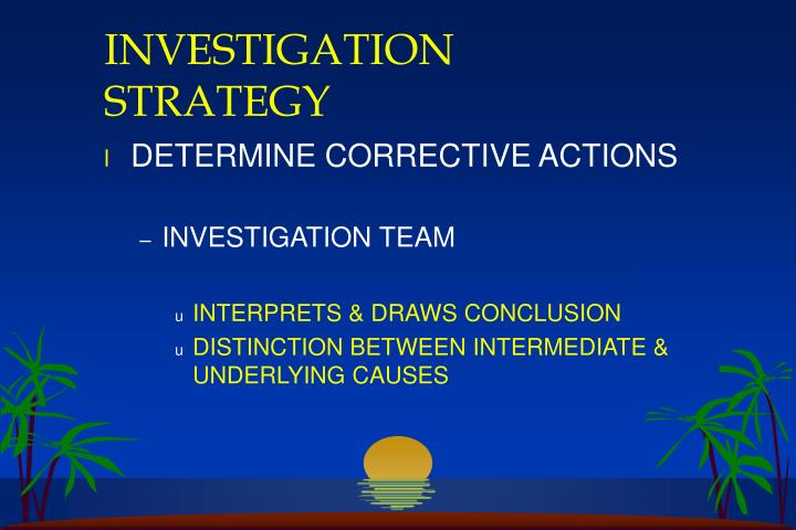 INVESTIGATION STRATEGY