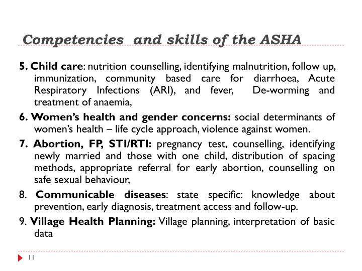 Competencies  and skills of the ASHA