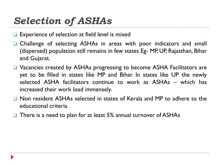 Selection of ASHAs