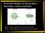 kinematic models of strong mg ii absorbers halos and disks
