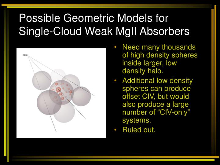 Possible Geometric Models for  Single-Cloud Weak MgII Absorbers