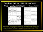 two populations of multiple cloud weak mgii absorbers