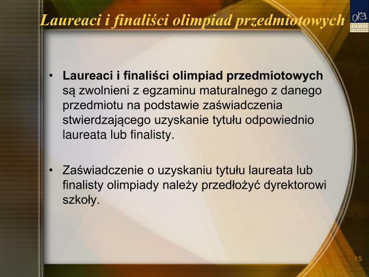 Laureaci i finaliści olimpiad przedmiotowych