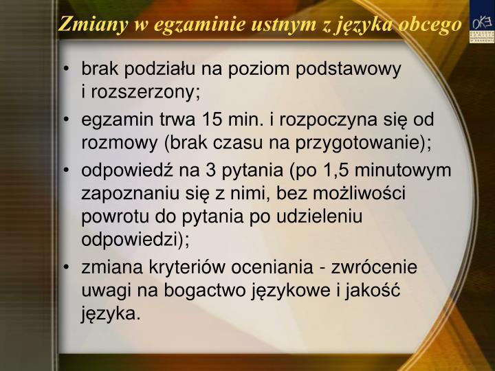 Zmiany w egzaminie ustnym z języka obcego