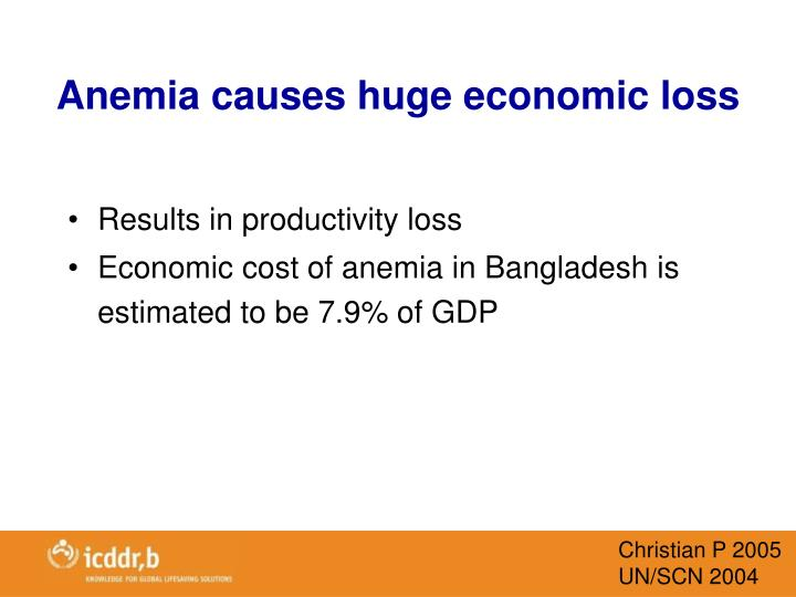 Anemia causes huge economic loss