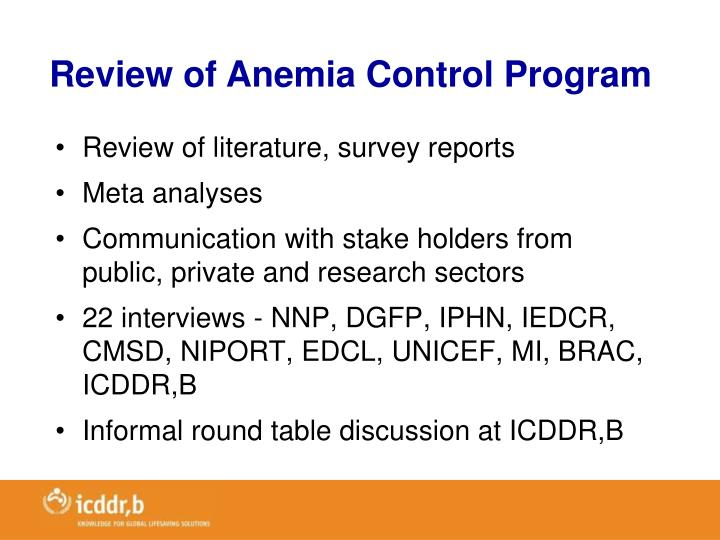 Review of Anemia Control Program