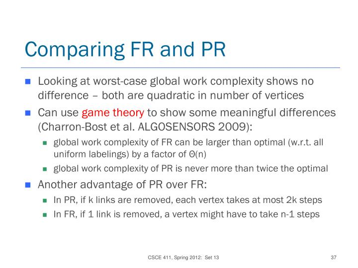 Comparing FR and PR