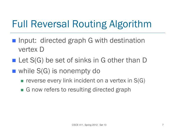 Full Reversal Routing Algorithm