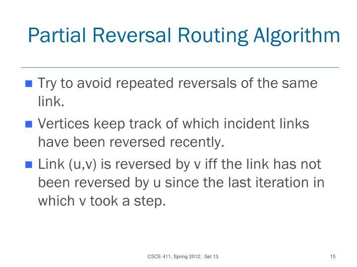 Partial Reversal Routing Algorithm