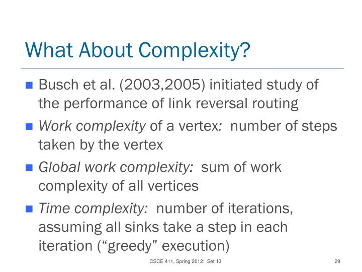 What About Complexity?