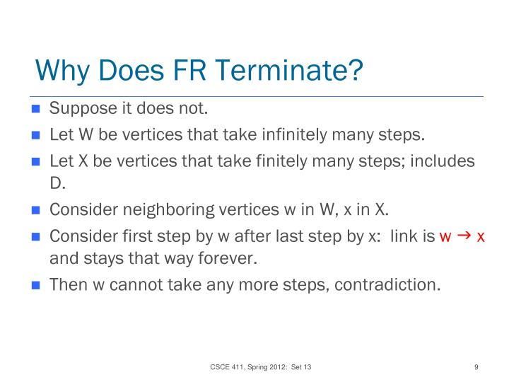 Why Does FR Terminate?