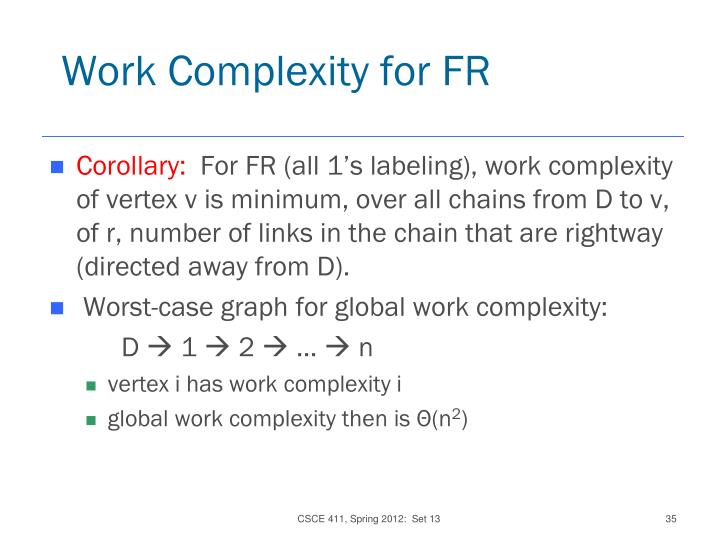 Work Complexity for FR