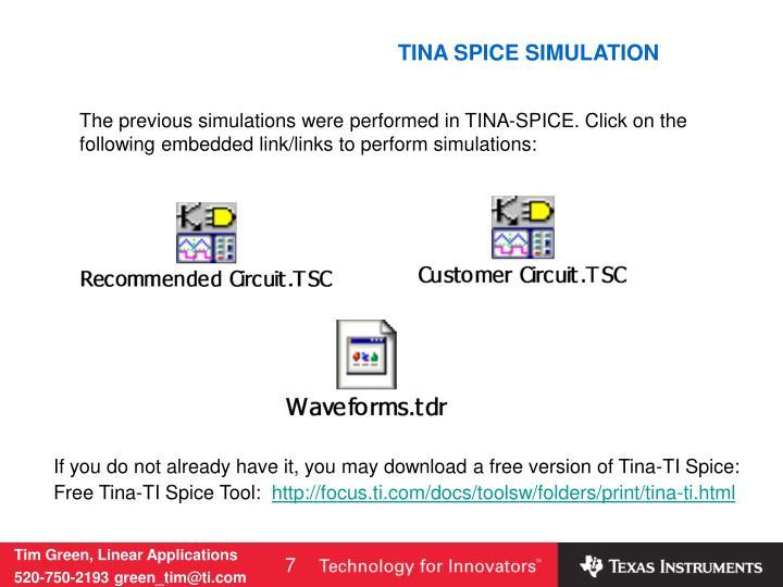TINA SPICE SIMULATION