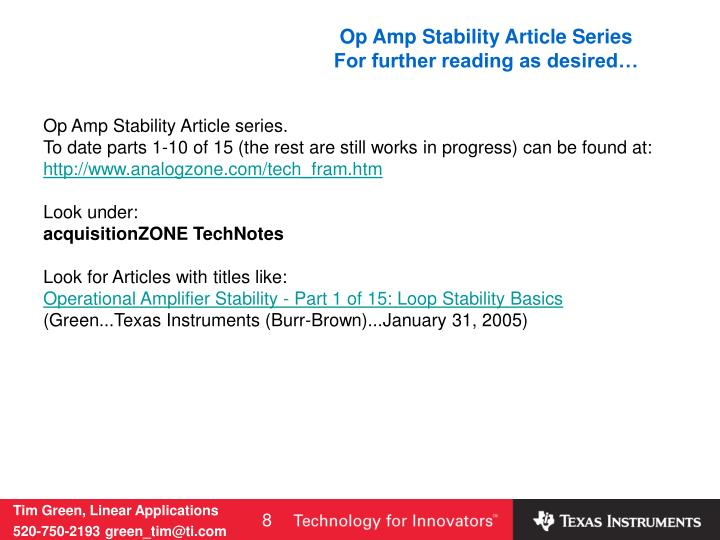 Op Amp Stability Article Series