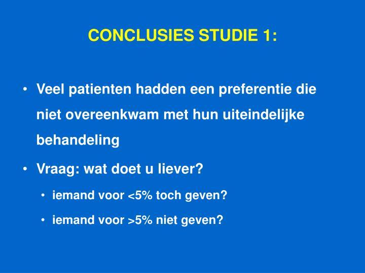 CONCLUSIES STUDIE 1: