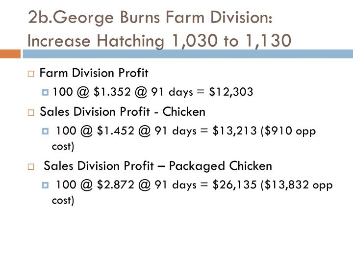 2b.George Burns Farm Division: Increase Hatching 1,030 to 1,130