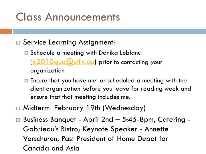 Class Announcements