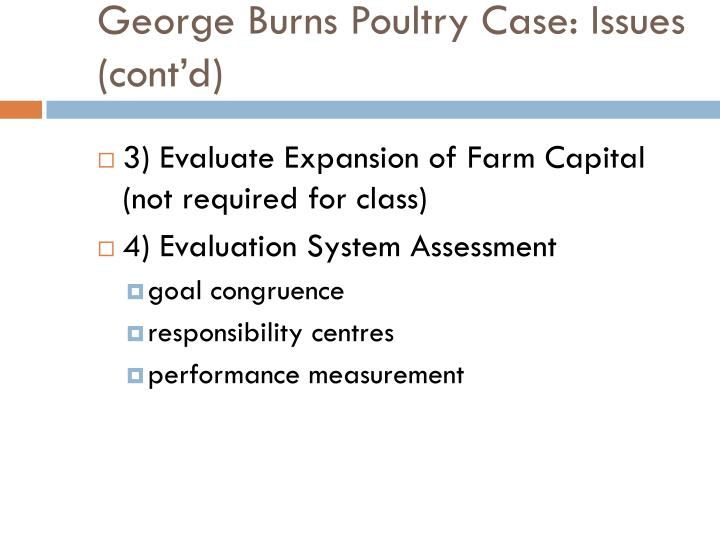 George Burns Poultry Case: Issues (cont'd)