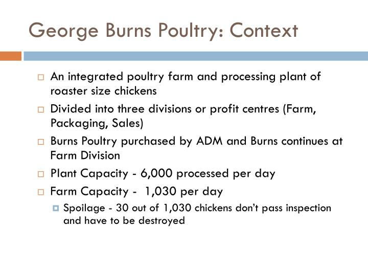 George Burns Poultry: Context
