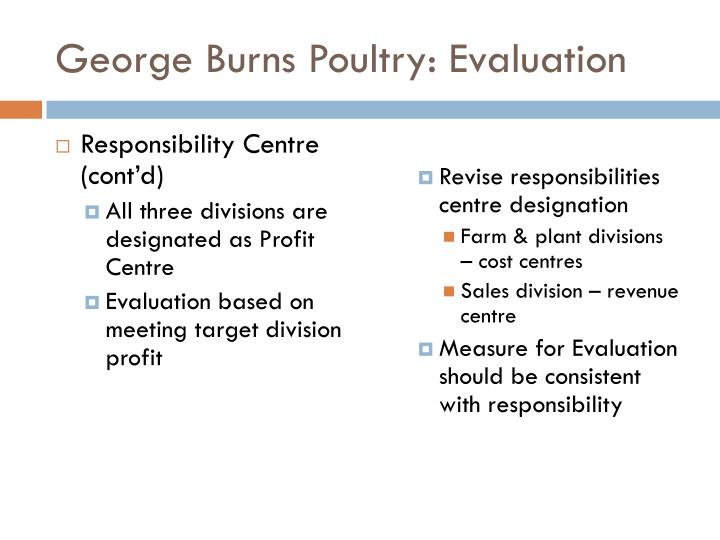 George Burns Poultry: Evaluation