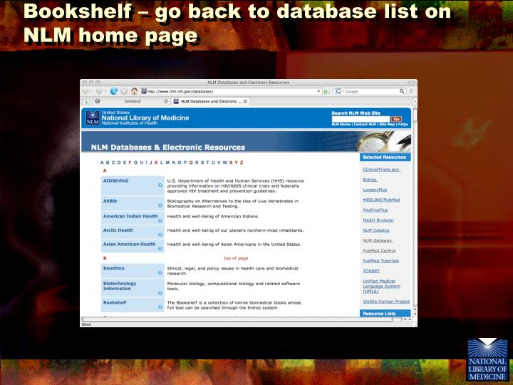 Bookshelf – go back to database list on NLM home page