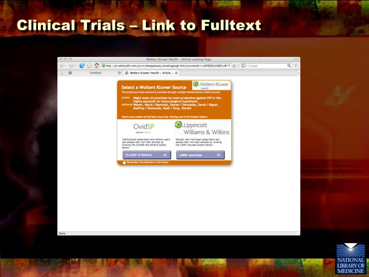 Clinical Trials – Link to Fulltext