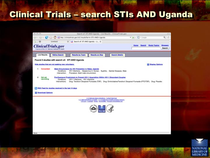 Clinical Trials – search STIs AND Uganda