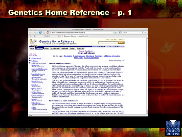 Genetics Home Reference – p. 1
