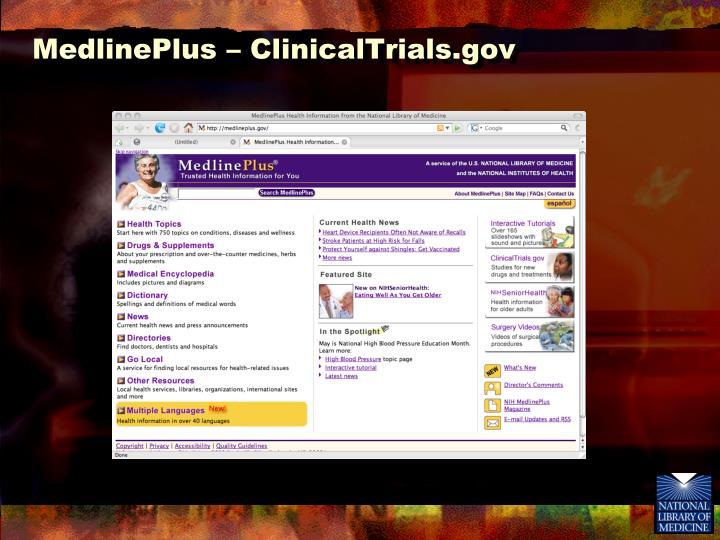 MedlinePlus – ClinicalTrials.gov