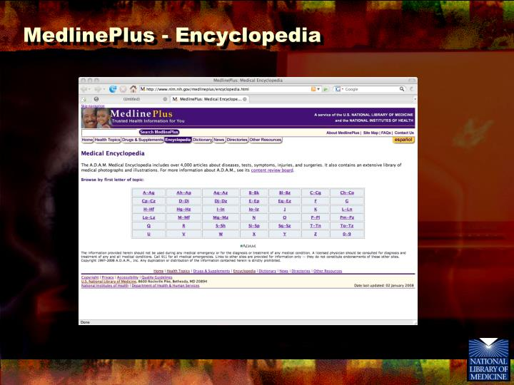 MedlinePlus - Encyclopedia