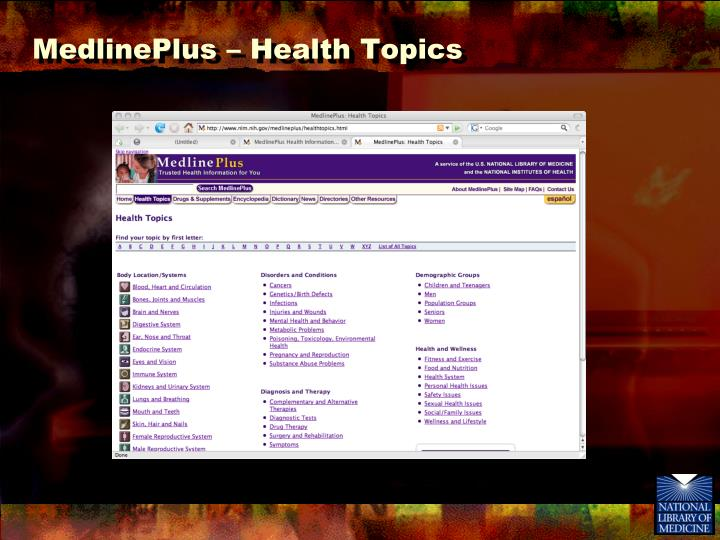 MedlinePlus – Health Topics
