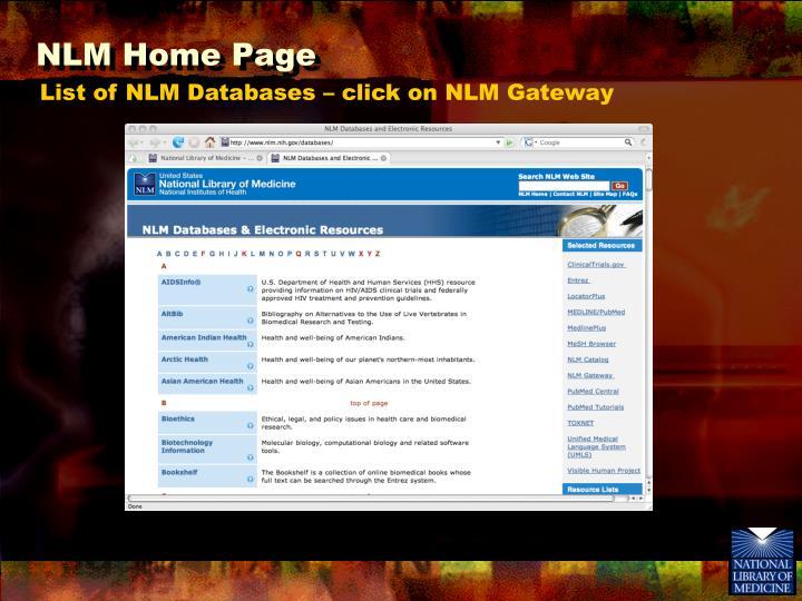 NLM Home Page