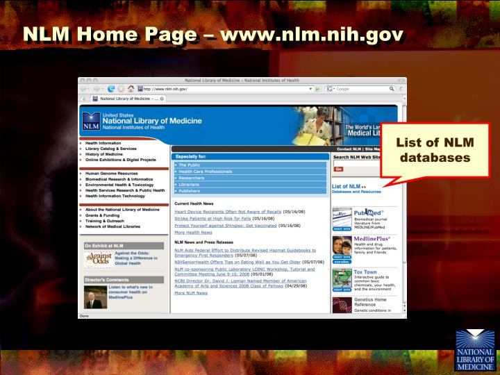 NLM Home Page – www.nlm.nih.gov