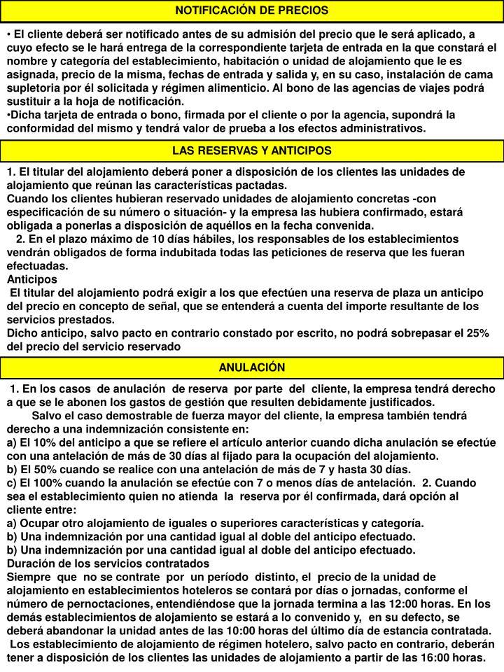 NOTIFICACIÓN DE PRECIOS