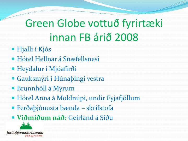 Green Globe vottuð fyrirtæki