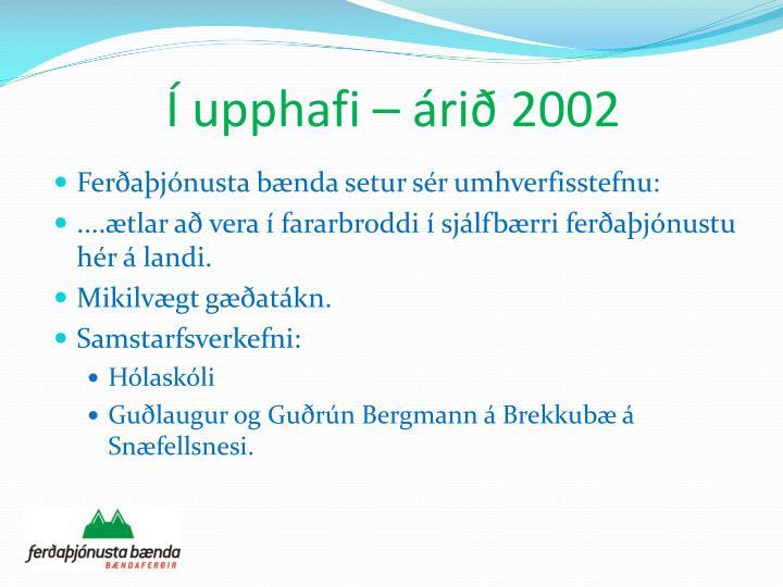 Í upphafi – árið 2002