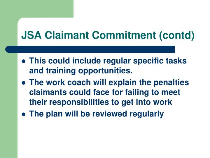 JSA Claimant Commitment (contd)