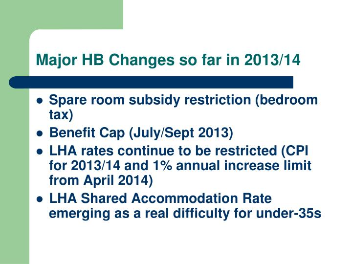 Major HB Changes so far in 2013/14