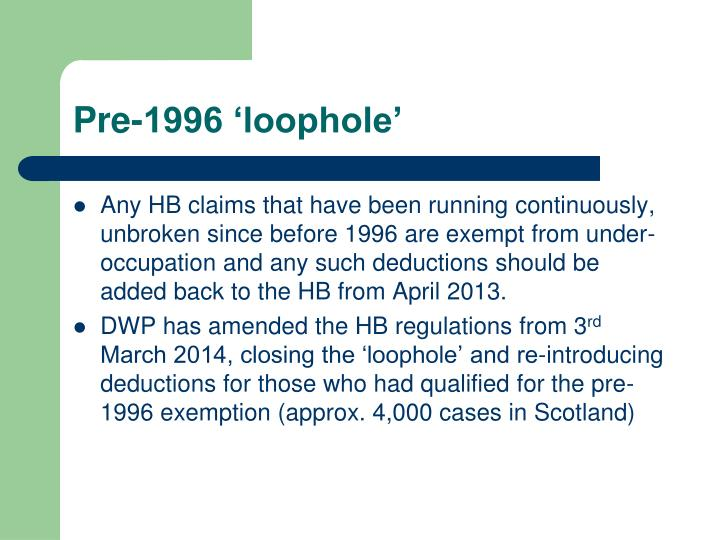 Pre-1996 'loophole'