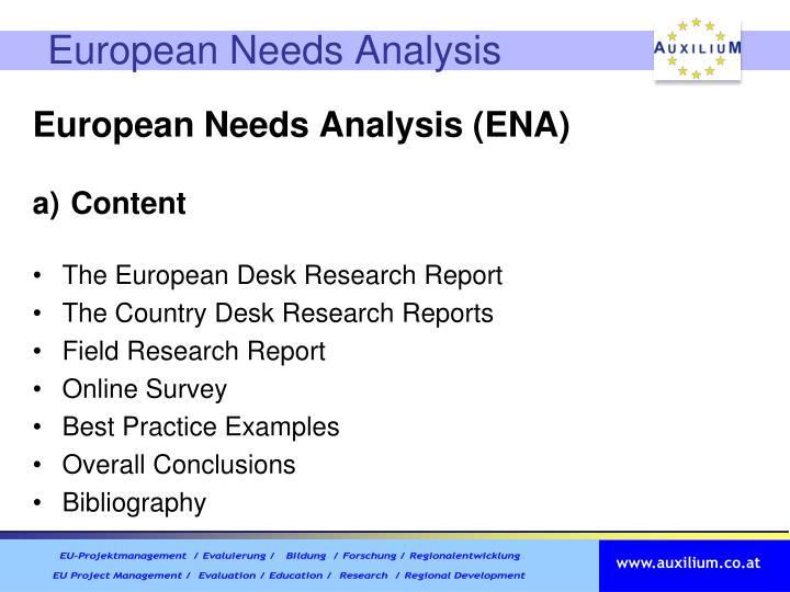 European Needs Analysis