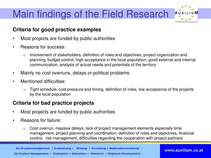 Main findings of the Field Research
