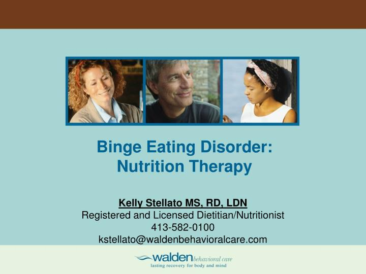 Binge eating disorder nutrition therapy