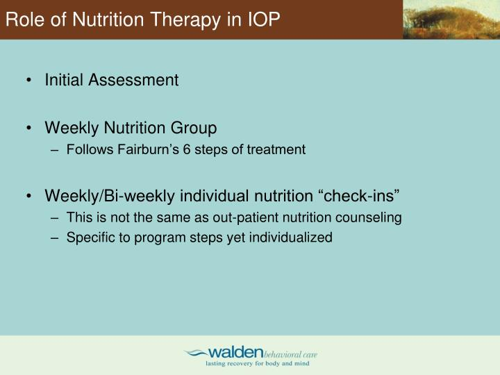 Role of Nutrition Therapy in IOP