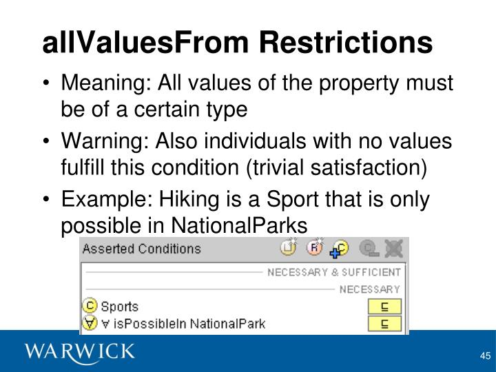 allValuesFrom Restrictions