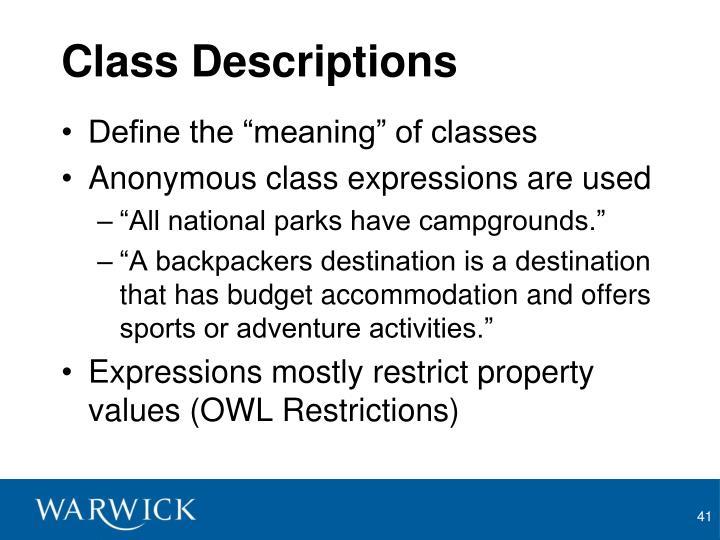 Class Descriptions