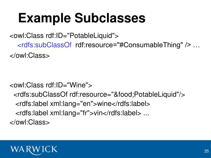 Example Subclasses