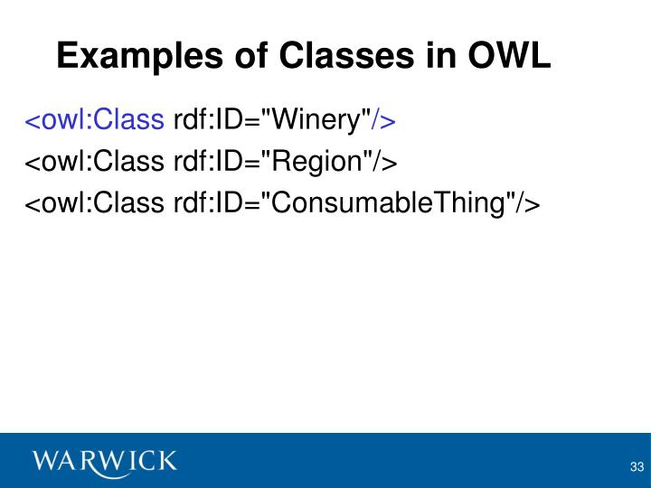 Examples of Classes in OWL